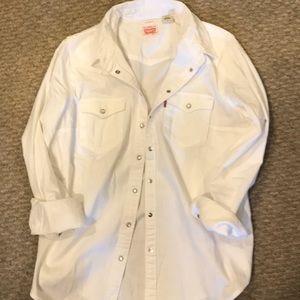 White Levi long sleeve button up shirt